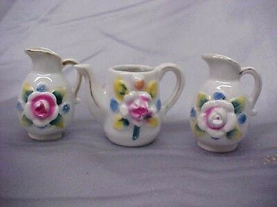 Vintage Lot 3  Occupied Japan Miniature Small Pitchers good condition          e