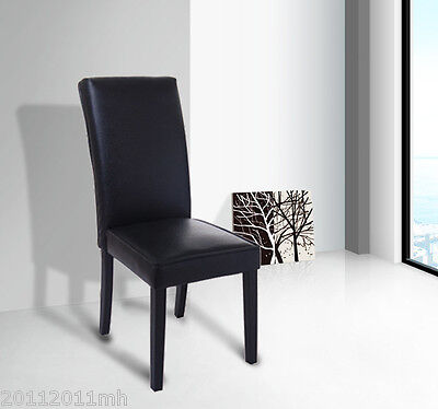 PROMOTION Faux Leather Contemporary Parson Dining Chair High Back Kitchen Black