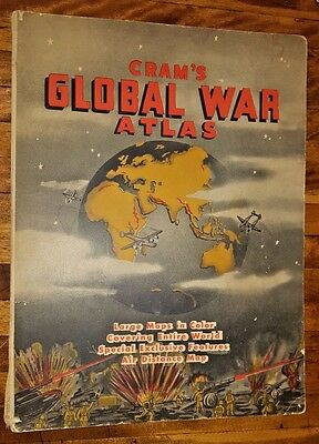 1939 Cram's WWII Global War ATLAS 18 pgs COLOR MAPS Europe Pacific USSR 11x15""