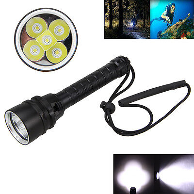 Waterproof Diving 15000LM 5x XML T6 LED SCUBA Underwater Flashlight Light 18650