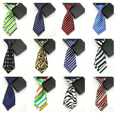 Women Lady Girl Striped Leopard Polka Dot Pre-tied Short Necktie Adjustable Tie