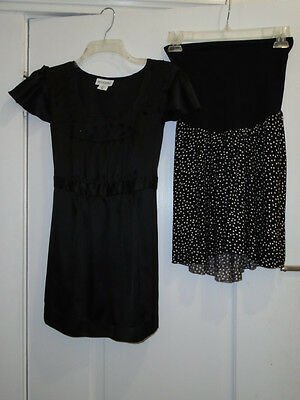 2 Pc Motherhood Maternity Career Lot Sz Medium NWT Skirt/Black Cap Slv Blouse