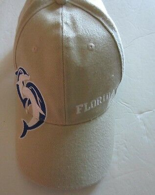 FLORIDA Adult  Tan Beige Baseball Hat Black Embroidered Dolphins 100% Polyester