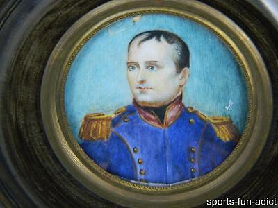 early 1800's French Signed BOUTE Hand Painted NAPOLEON Miniature Portrait ANTIQU