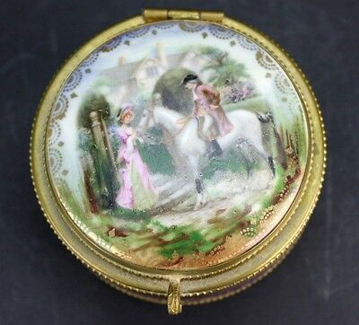 Antique German Porcelain Romantic Lovers Scene Mirror Compact Trinket Box NR BEW