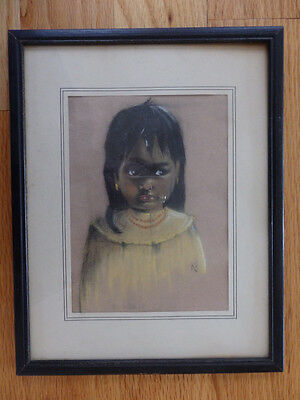 Vintage Framed Original Pastel Drawing of A Native American Girl 8 1/2 x 11""