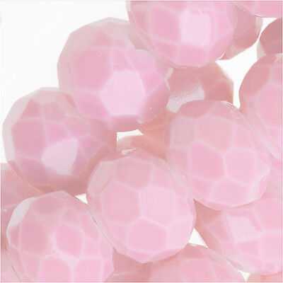 Chinese Glass Beads, Faceted Rondelles 6x4mm, Baby Pink, 1 Strand