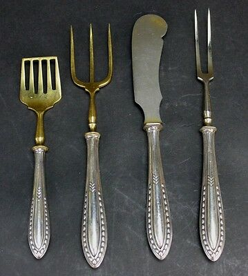 LOT 4 x 800 Silver Gold Wash Stainless Art Deco Meat Toast Fork Butter Knife B&H