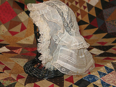 Antique circa mid 1800s French Net Needle Lace Baby Doll Bonnet