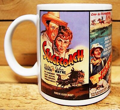 300ml COFFEE MUG, JOHN WAYNE MOVIES,  STAGECOACH YELLOW RIBBON HONDO EL DORADO