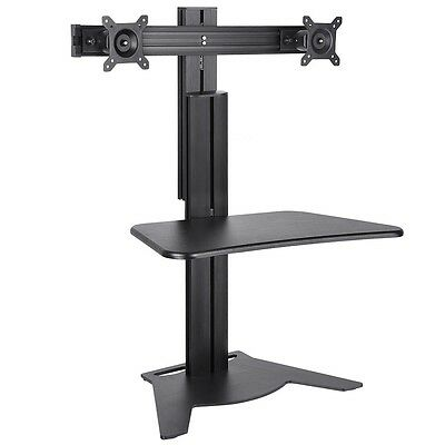 Double Monitor High Rise Sit-Stand Desk Converter Ergonomic Height Adjust Black