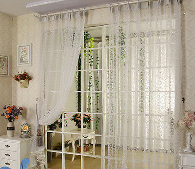 Floral Room Window curtains Curtain Drape Divider Panel Scarf Sheer 1X2M white