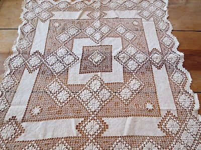 "ANTIQUE HAND MADE FILET NET LACE 29"" SQUARE TABLECLOTH Linen ITALIAN knotted"
