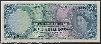 Fiji - 1961 5/-  Government Of Fiji Bank Note Sig. Bevington, Griffiths VF P.51b