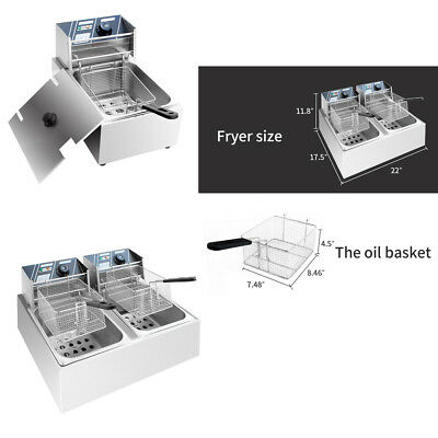 Commercial 6L/11L/12L 5000W Electric Countertop Deep Fryer Dual Tank Basket