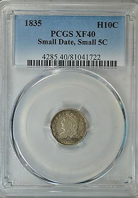 1835 Capped Bust half dime, PCGS XF40