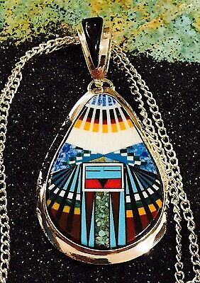 Native American, MICRO INLAY Pendant detailed out with TURQUOISE AND More