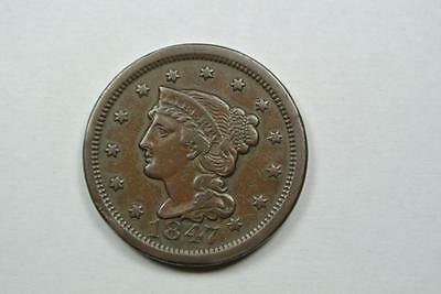 1847 VF+ Coronet Large Cent, Chocolate Brown - C2932