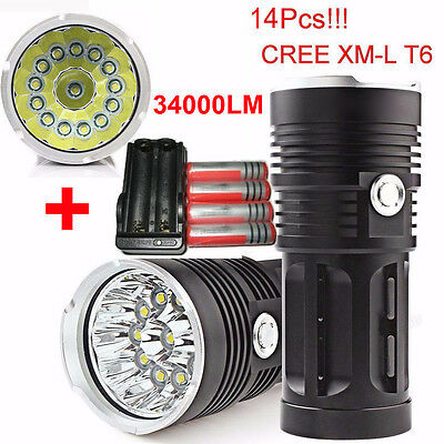 34000LM 14x XML T6 LED 3 Modes Tactical Flashlight Camp Torch 4*18650 + Charger