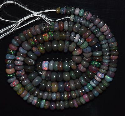 """16"""" Natural Ethiopian BLACK Welo Fire Opal Treated  Rondelle Beads SDO943"""