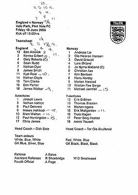 Teamsheet - England Under 18 v Norway Under 18 - 10.06.05 @ Port Vale