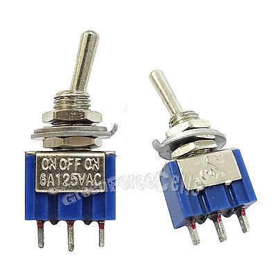 50 pcs 3 Pin SPDT ON-OFF-ON 3 Position 6A 250VAC Mini Toggle Switches MTS-103