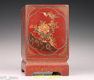 Asia Old Manual Lacquer Painting Flowers Birds Brush Pen Pot Vase Jar Collector