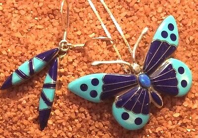Native American Sterling Lapis Inlaid Butterfly Pendant & Earring Set
