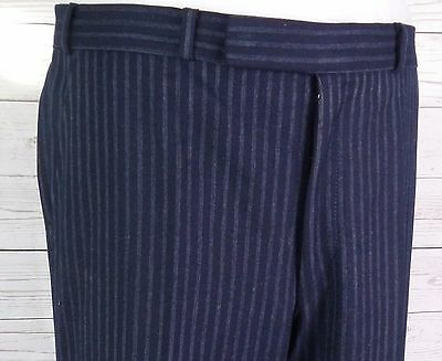 Vtg Blue Quad Pinstripe Tapered Leg Wool Trousers City Gent Geek  W34 DQ38