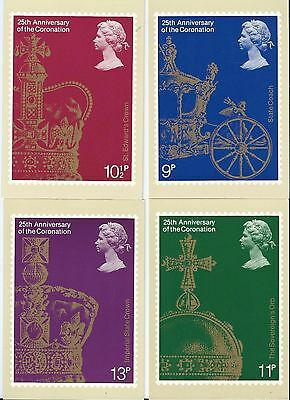 Postcard Collection 4 Cards 25th Anniversary of Coronation Queen Elizabeth 1978
