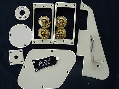 LP Standard Pickguard Back Cover Truss Rod Cover Jack Plate Pickup Ring Cream B