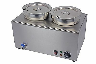Ace 2 X Round Pot 7L Wet Well Bain Marie Soup,sauce,veg, Kebab Meat Etc Abm-2R
