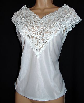 Vintage Unworn Immaculate Nightie Top Nylon Lace & Polyester, Size M