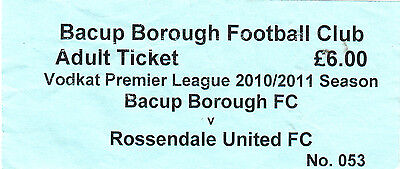 Ticket - Baccup Borough v Rossendale United 2010/11