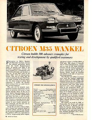 1970 Citroen M35 Wankel  ~  Nice Original Article / Ad
