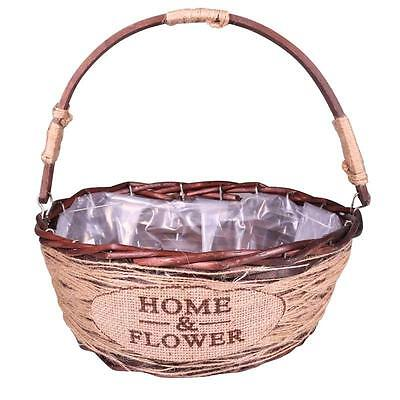 Brown Lined Wicker Hessian Home & Flower Gift Basket