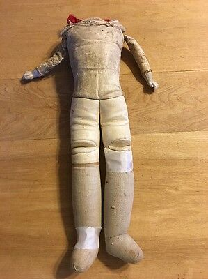 Slight TLC Leather W/ Lower Bisque Arms Antique German Doll Body