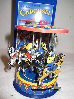 NIB Schylling Pull and Spin TIN Horse Carousel Collector Toy