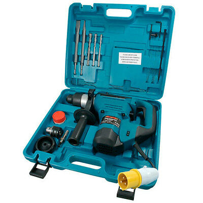 Heavy Duty 1000W Rotary Sds Hammer Drill 110V & Chisels With Case Power Tool