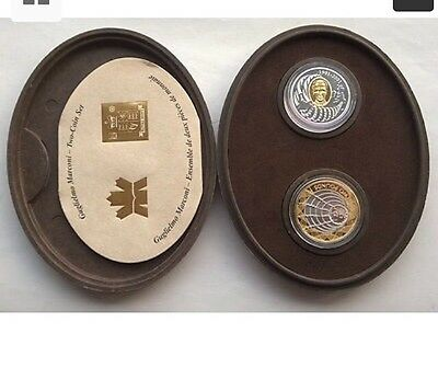 2001 Silver Proof Gold Plating Uk & Canada  £2 + $5 Coins Box + Coa Marconi Seal