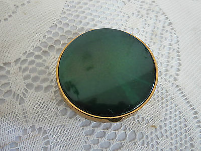 Vintage Fifth Avenue Round Green Metal Powder Compact Gold Tone Metal Back
