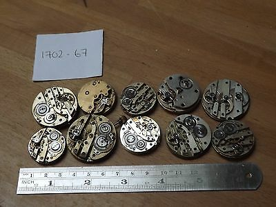 Good Lot Of 10 Mixed Antique Gents Pocket Watch Movements - Sold Not Working