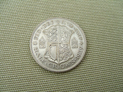 1929   King  George V   Silver  Halfcrown   ( Two Shillings & Sixpence )  2