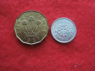 1937  King George Vi  Silver & Brass Threepence. Coronation Issue...    M.b.z.