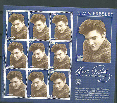 Liberia unmounted mint Elvis Presley sheet of 9 $20 stamps MNH