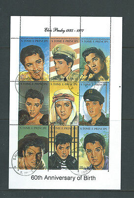 St Tome E Principe Elvis Presley sheetlet of 9 different cto used