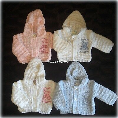 Premature Baby Boy Girl Hooded Cardigan-1/3Lb-3/5Lb-5/8Lb-Blue/pink/white- New