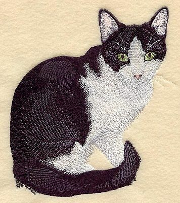 Embroidered Ladies Short-Sleeved T-Shirt - Black & White Tuxedo Cat C7937