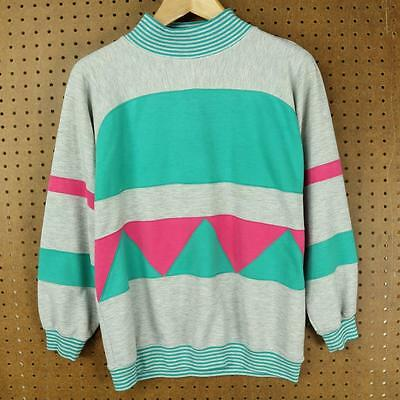 vtg 80's 90's geometric colorblock sweatshirt MEDIUM vaporwave boxy