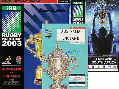 3 x ENGLAND AUTHENTIC RUGBY WORLD CUP FINAL PROGRAMMES 1991 2003 & 2007 + COA's